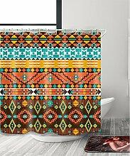 LIANJUN Duschvorhang Geometrische Formen Geheimnisvolle Tribal Chic 3D Druck Duschvorhang Wasserdicht Mouldproof Bad Vorhang mit Haken (11 Größen) Anti - statischer Duschvorhang ( Farbe : B , größe : 220*180CM )
