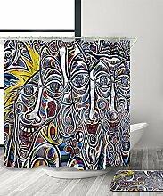 LIANJUN Duschvorhang Geometrischer kreativer 3D-Druck-Duschvorhang Wasserdichter mouldproof Badezimmer-Vorhang mit Haken (11 Größen) Anti - statischer Duschvorhang ( Farbe : B , größe : 120*180CM )