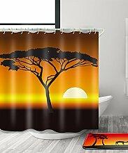 LIANJUN Duschvorhang Mysteriöse indische Kultur Tribal Chic 3D Druck Duschvorhang Wasserdicht Mouldproof Bad Vorhang mit Haken (11 Größen) Anti - statischer Duschvorhang ( Farbe : B , größe : 120*200CM )
