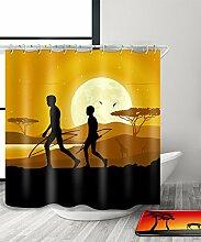 LIANJUN Duschvorhang Mysteriöse indische Kultur Tribal Chic 3D Druck Duschvorhang Wasserdicht Mouldproof Bad Vorhang mit Haken (11 Größen) Anti - statischer Duschvorhang ( Farbe : D , größe : 180*220CM )
