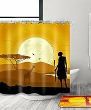 LIANJUN Duschvorhang Mysteriöse indische Kultur Tribal Chic 3D Druck Duschvorhang Wasserdicht Mouldproof Bad Vorhang mit Haken (11 Größen) Anti - statischer Duschvorhang ( Farbe : A , größe : 240*180CM )