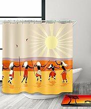LIANJUN Duschvorhang Mysteriöse indische Kultur Tribal Chic 3D Druck Duschvorhang Wasserdicht Mouldproof Bad Vorhang mit Haken (11 Größen) Anti - statischer Duschvorhang ( Farbe : B , größe : 180*220CM )