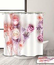 LIANJUN Duschvorhang Rosa Blumen 3D Druck Ästhetik Duschvorhang Wasserdicht Mouldproof Bad Vorhang mit Haken (11 Größen) Anti - statischer Duschvorhang ( Farbe : B , größe : 180*240CM )