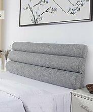 LIANJUN Pure Color Flachs Support Bedside Kissen Schwamm Großes Bett Kopf Kissen Lesung Rückenlehne Abnehmbare-Twin Size / Full Size / Queen Size Bettwäsche Zubehör ( Farbe : 4* , größe : B-163*56cm )