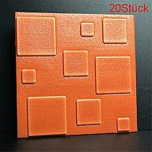 LianLe 3D Wand Tapete Quadrat Muster Wandaufkleber Selbstklebend Wandtattoo 30×30cm für Wohnzimmer Schlafzimmer Hotel TV Hintergrund (20 Stück, Orange)