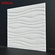 LianLe 3D Wand Tapete Welle Muster Wandaufkleber Selbstklebend Wandtattoo 60×60cm für Wohnzimmer Schlafzimmer Hotel TV Hintergrund (20 Stück, Weiß)