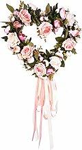 LianLe Dekoration Kranz Herz Form Künstlich Rose