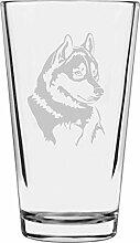 Libbey Pint-Glas mit Husky-Motiv, geätzt, 473 ml