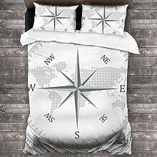 LiBei 3 Teilig Bettwäsche Set,Kompass