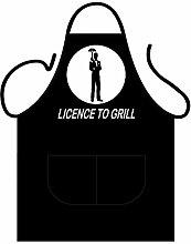 License to Grill BBQ - Grill-Schürze - Einheitsgrösse. 100% Baumwolle Öko-Tex Standard 100