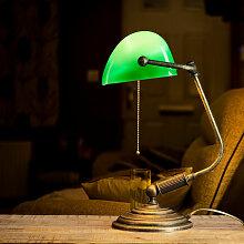 Licht-erlebnisse - Bankerlampe Messing massiv Glas