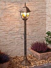 Licht-Erlebnisse Edle Standleuchte Stehlampe in antik-gold Tiffany-Glas Hoflampe Außenleuchte Gartenleuchte 8185 IP43