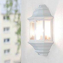 Licht-Erlebnisse Wandlampe Aussen Weiß rustikal
