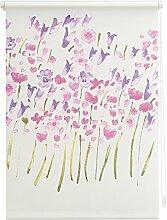 Lichtblick KRT.080.180.104 Rollo Klemmfix, ohne Bohren, blickdicht, Monet Summer - Weiß-Lila - 80 cm x 180 cm (B x L)