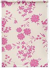 Lichtblick KRT.100.180.107 Rollo Klemmfix, ohne Bohren, blickdicht, Vintage Flowers - Weiß-Lila 100 cm x180 cm (B x L)