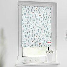 Lichtblick Rollo Klemmfix, ohne Bohren, Verdunkelung, Motiv Okko, Farbe weiß-türkis Größe BxH 90x150 cm