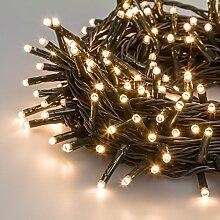 Lichterkette 12,6 m, 180 Mini LEDs warmweiß, grünes Kabel, 30V-Trafo, Innen und Außen