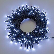Lichterkette 13,1 m, 180 Mini LEDs kaltweiß, grünes Kabel, mit Memory Controller