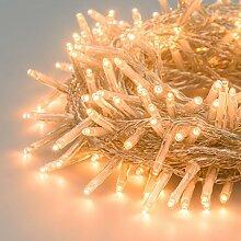 Lichterkette 13 m, 180 Mini LEDs warmweiß traditionell, transparentes Kabel, mit Memory Controller, 30V, Innen/Außen