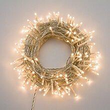 Lichterkette 13 m, 180 Mini LEDs warmweiß, transparentes Kabel
