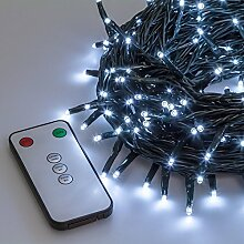 Lichterkette 16,4 m, 200 Mini LEDs kaltweiß, mit Fernbedienung und Zeitschaltuhr, grünes Kabel, Innen/Außen