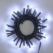 Lichterkette 2,8 m, 40 Mini LEDs kaltweiß, grünes Kabel, 4,5V-Trafo, Innen und Außen