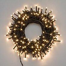 Lichterkette 2,8 m, 40 Mini LEDs warmweiß, grünes Kabel, 4,5V-Trafo, Innen und Außen