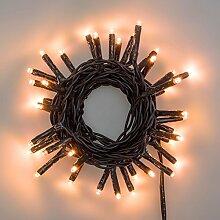Lichterkette 2,8 m, 40 Mini LEDs warmweiß traditionell, grünes Kabel, 4,5V-Trafo, Innen und Außen