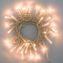 Lichterkette 2,8 m, 40 Mini LEDs warmweiß traditionell, transparentes Kabel, 4,5V-Trafo, Innen und Außen