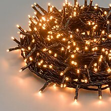 Lichterkette 25,2 m, 360 Mini LEDs warmweiß traditionell, grünes Kabel, 30V-Trafo, Innen und Außen