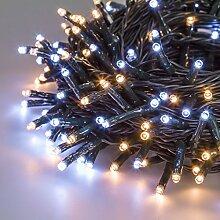 Lichterkette 25,5 m, 360 Mini LEDs warm- und kaltweiß, Memory Controller für einstellbare Lichtspiele, grünes Kabel, 30V Trafo, Innen/Außen