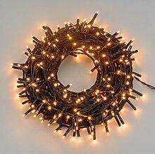 Lichterkette 28,5 m, 400 Mini LEDs warmweiß traditionell, grünes Kabel, mit Fernbedienung, Zeitschaltuhr, 31V Trafo