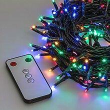 Lichterkette 32,4 m, 400 Mini LEDs bunt, mit Fernbedienung und Zeitschaltuhr, grünes Kabel, Innen/Außen