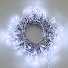 Lichterkette 5,6 m, 80 Mini LEDs kaltweiß, Dauerlicht, transparentes Kabel, 4,5V-Trafo