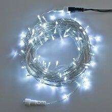 Lichterkette 50 m, 500 LEDs kaltweiß, transparentes Kabel, mit Memory Controller, Trafo inklusive