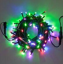 Lichterkette 50 m, 500 LEDs Multicolor, grünes Kabel, Trafo inkl., einstellbare Lichtspiele