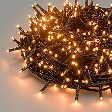 Lichterkette 52,5 m, 750 Mini LEDs warmweiß traditionell, grünes Kabel, 30V-Trafo, Innen und Außen