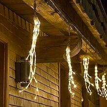 Lichterkette 9 m, 10 Lichterbündel h 40 cm, 480 Mini LEDs warmweiß, Dauerlicht, transparentes Kabel, mit 24V Trafo, Innen/Außen