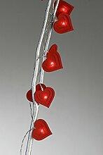 Lichterkette Herz Filz rot Länge 145cm