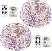 Lichterkette Jadelotus Kupferkabel weiß String Lights Batterie betrieben Wasserdicht 2 Stück 8 Modi 50 LED mit Fernbedienung für Weihnachten, Hochzeit, Party, Garten, Camping,Feiern, Schlafzimmer