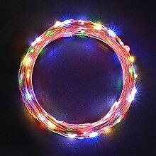 Lichterkette Kupferdraht, Sunix LED Lichterkette, 11 Meter 110 LED Sternklar Lichterketten RGB Beleuchtung Dekoration für Weihnachten, Hochzeit, Party, Balkon, Terrasse, Fenster, Treppe, Bar, etc