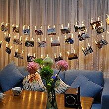 Lichterkette LED Fotos Clips tkstar Fotos Lichter Lampe mit Clips Foto für die Haus/Teil/Weihnachtsdekoration Geburtstag Party Hochzeit Dekor, Warmweiß, 20 LED