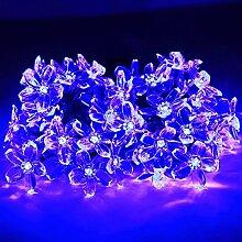 Lichterkette Solar 50er LED 7M Blumen Solar Outdoor wasserfeste Solarbetriebene Lichterkette für Garten,Terrasse,Hochzeit,Weihnachtsbaum usw. (Blüte,Blau)