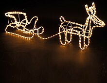 Lichterschlauch Rentier mit Schlitten, 44 cm hoch,