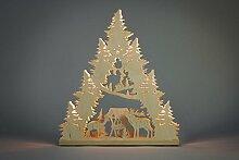 Lichterspitze Hirschfamilie 7 flg hergestellt im Erzgebirge - eine wunderschöne Dekoration für Weihnachten - mit Netzkabel 1,5 m und Zwischenschalter