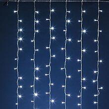 Lichtervorhang 4 x h 2 m, 480 LEDs kaltweiß, transparentes Kabel, Batteriebetrieb, Lichtspiele und Timer