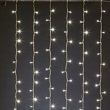 Lichtervorhang 4 x h 2 m, 480 LEDs warmweiß, transparentes Kabel, batteriebetrieben, Lichtspiele, Timer