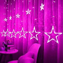 Lichtervorhang Lichterketten 138 LED 12 Sterne