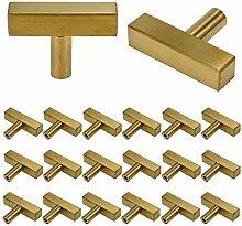 LICTOP Edelstahl-Griffe, quadratisch, goldfarben,