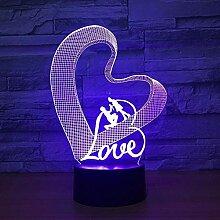 Liebe 3D Nachtlicht LED Tischlampe 3D magische